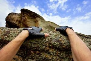 Climbing Rocks Hands Leather Gloves Reaching