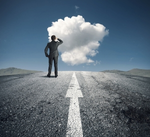 road-empty-arrow-business-man-cloud-pondering-journey