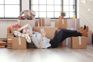 54787135 - cute girl during moving home