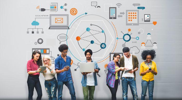 57722533 - global communication digital device information concept